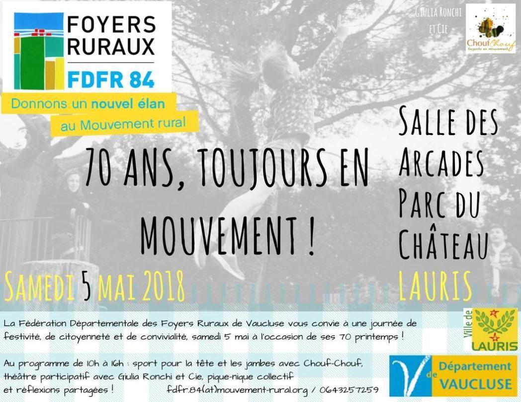 Fédération Dép. des Foyers Ruraux de Vaucluse : 70 printemps ! Sam. 5/05 à Lauris image