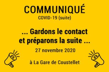 Communiqués Covid-19 (suite) / Gardons le contact & préparons la suite . Nov 2020 image